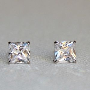 14kt White Gold 2.01 Carat Princess CZ Earrings